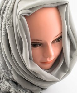 Chiffon Lace Hijab - Light Grey 2 - Hidden Pearls