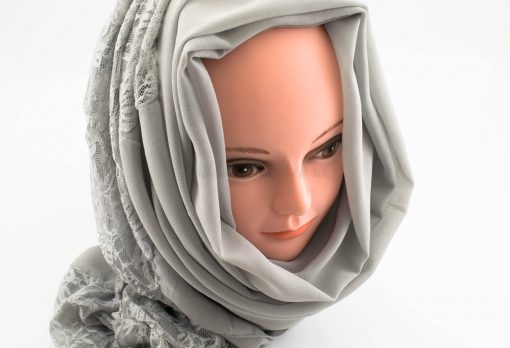 Chiffon Lace Hijab - Light Grey 2 - Hidden Pearls