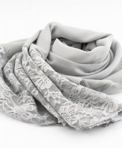Chiffon Lace Hijab - Light Grey - Hidde