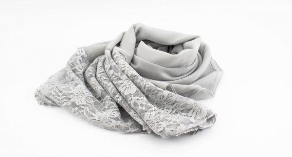 Chiffon Lace Hijab - Light Grey - Hidde