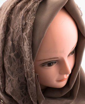 Chiffon Lace Hijab - Mauve 2- Hidden Pearls