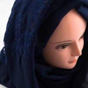Chiffon Lace Hijab - Midnight Blue 2 - Chiffon Lace Hijab - Midnight Blue 2 - Hidden Pearls