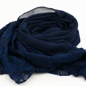Chiffon Lace Hijab - Midnight Blue - Hidden Pearls