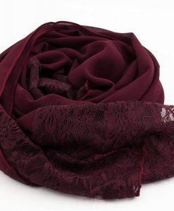 Chiffon Lace Hijab - Rosewood 2 - Hidden Pearls