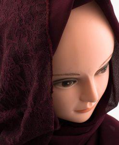 Chiffon Lace Hijab - Rosewood - Hidden Pearls