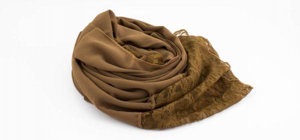 Chiffon Lace Hijab - Walnut 2 - Hidden Pearls