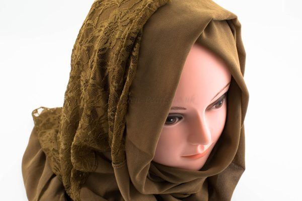 Chiffon Lace Hijab - Walnut - Hidden Pearls