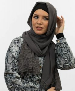Chiffon Lace Hijab - Dark Grey - Hidden Pearls