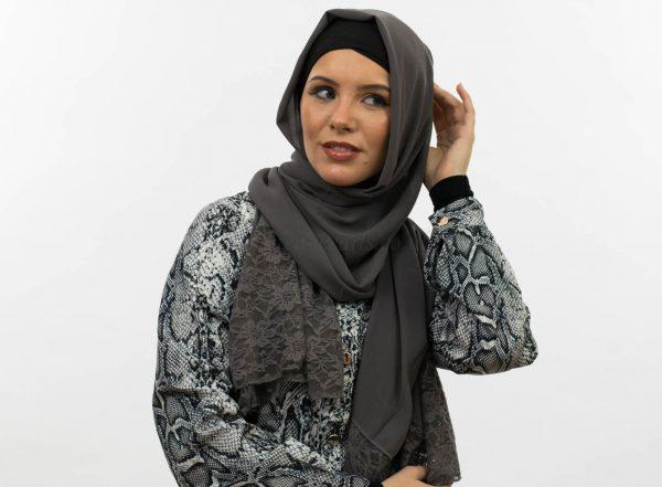 Chiffon Lace Hijab - Dark Grey - Hidden Pearls