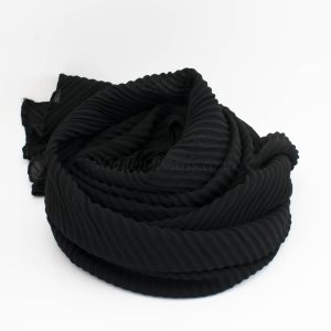 Crinkle Chiffon Hijab - Black 2 - Hidden Pearls
