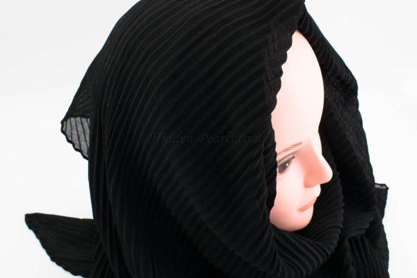 Crinkle Chiffon Hijab - Black - Hidden Pearls