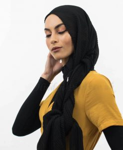 Crinkle Chiffon Hijab Black Website 2