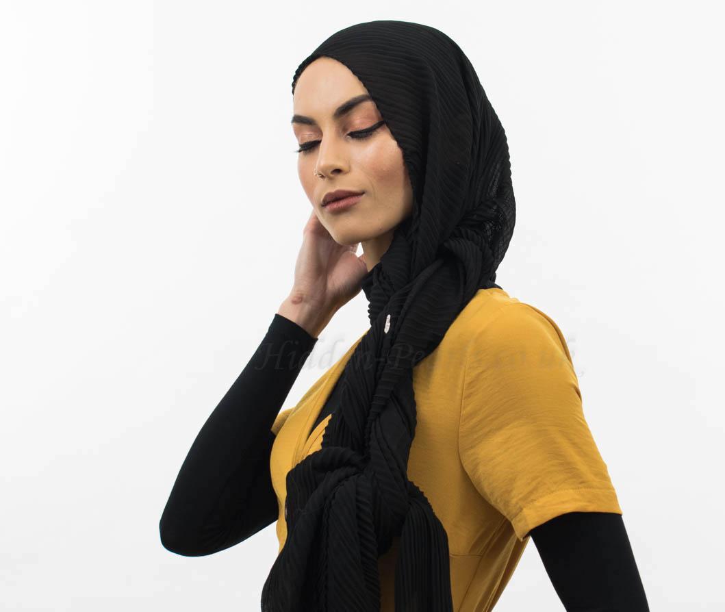 Crinkle Chiffon Hijab Black Website 2