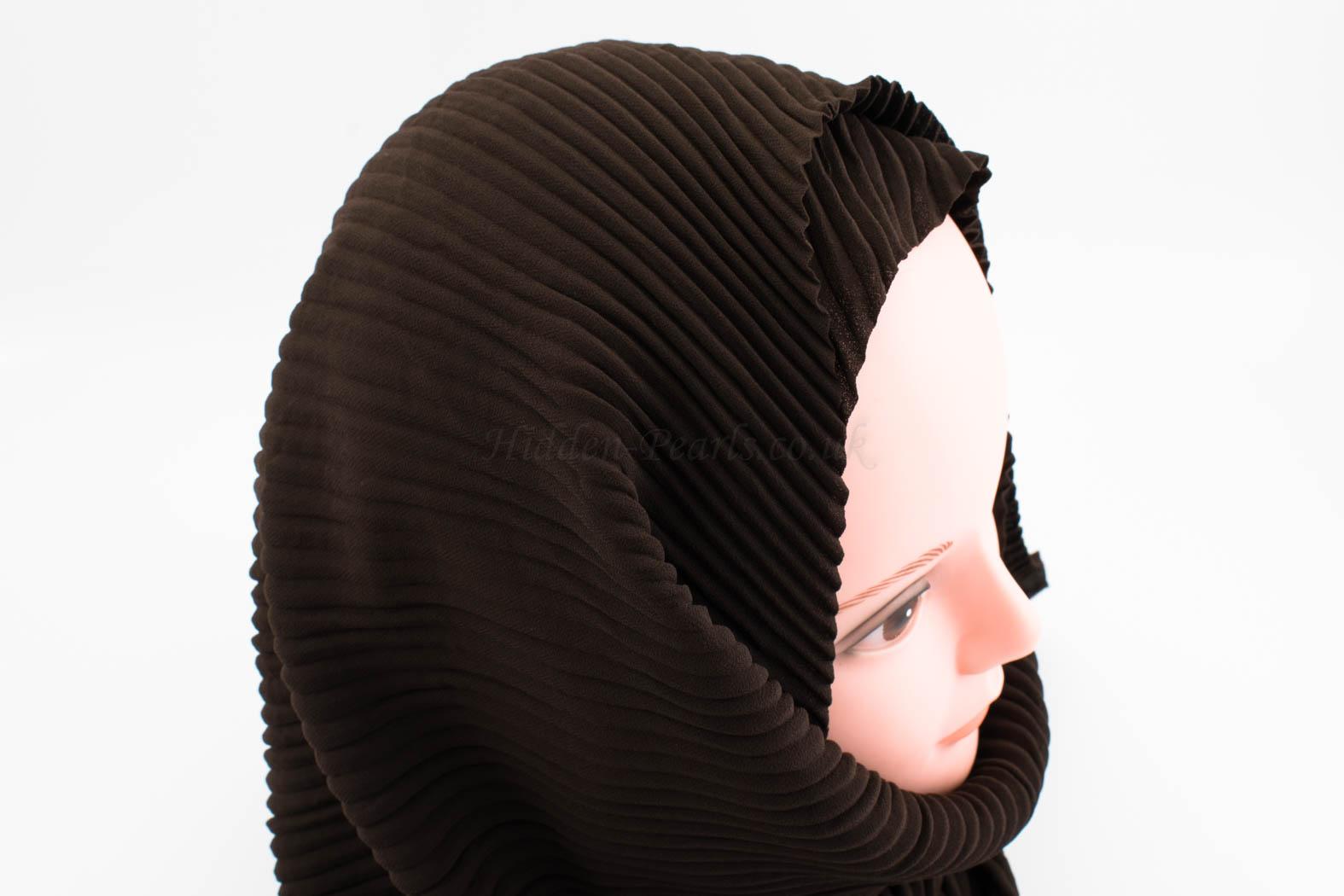 Crinkle Chiffon Hijab - Chocolate - Hidden Pearls