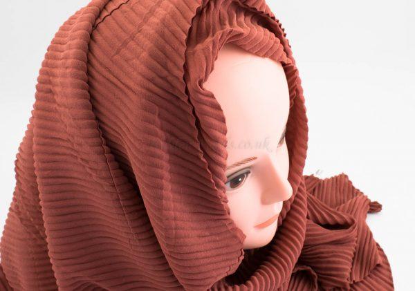 Crinkle Chiffon Hijab - Rust - Hidden Pearls