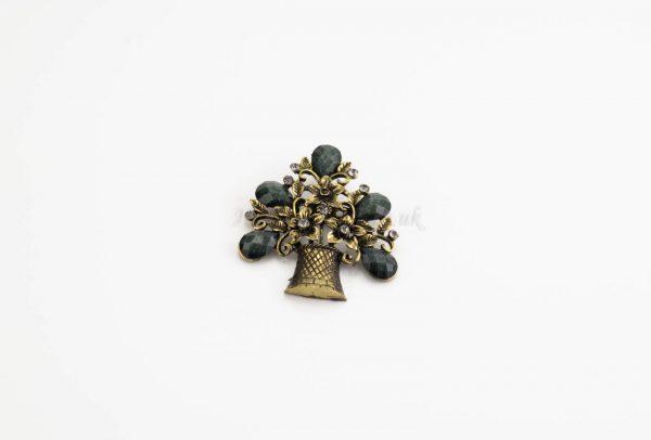 Antique Flower Hijab Brooch - Green - Hidden Pearls