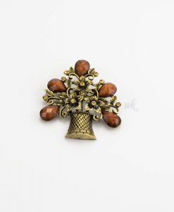 Antique Flower Hijab Brooch - Brown - Hidden Pearls