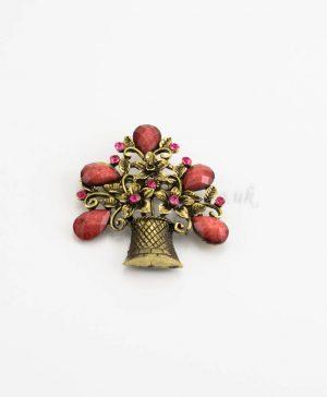 Antique Flower Hijab Brooch - Red - Hidden Pearls