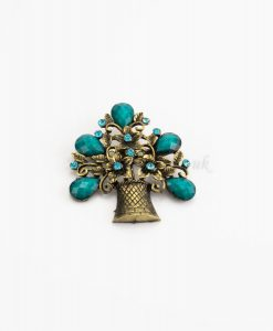 Antique Flower Hijab Brooch - Blue - Hidden Pearls
