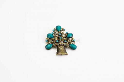 Antique Flower Hijab Brooch - Blue - Hidden Pearls
