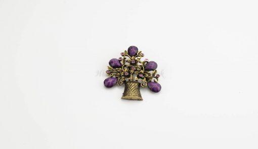 Antique Flower Hijab Brooch - Purple - Hidden Pearls