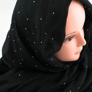 Deluxe Diamante Silk Hijab - Black 2 - Hidden Pearls