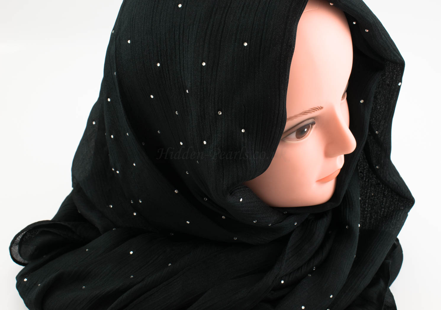 Deluxe Diamante Silk Hijab - Black 2 - Hidden Pearls