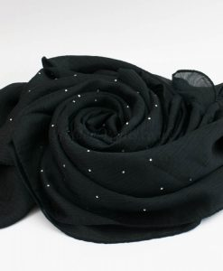 Deluxe Diamante Silk Hijab - Black - Hidden Pearls