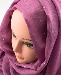 Deluxe Diamante Silk Hijab - Orchid - Hidden Pearls