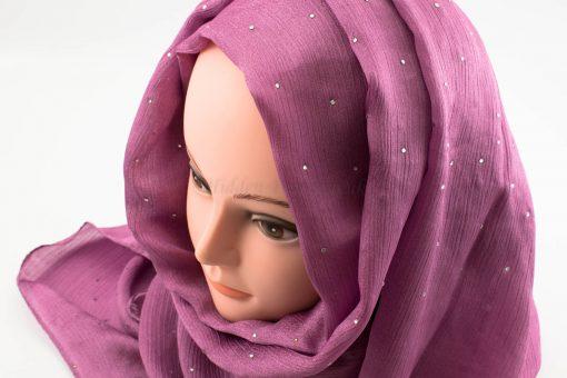 Deluxe Diamante Silk Hijab - Orchid - Hidden Pearls
