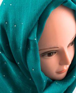 Deluxe Diamante Silk Hijab - Deep Turquoise 2 - Hidden Pearls