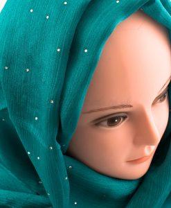 Deluxe Diamante Silk Hijab - Deep Turquoise 3 - Hidden Pearls