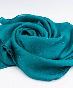 Deluxe Diamante Silk Hijab - Deep Turquoise - Hidden Pearls