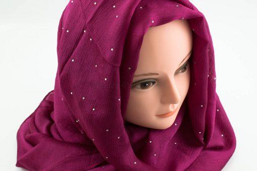 Deluxe Diamante Silk Hijab - Fuschia 2 - Hidden Pearls