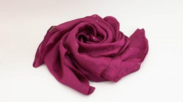 Diamante Silk Hijab - Fuschia - Hidden Pearls