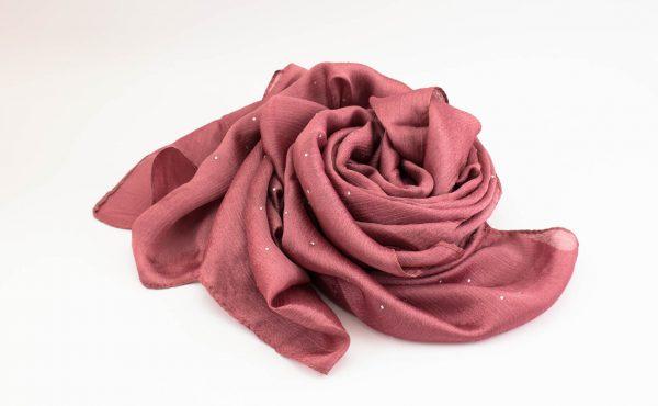 Deluxe Diamante Silk Hijab- Rose 2 - Hidden Pearls