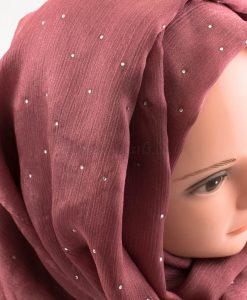 Deluxe Diamante Silk Hijab - Rose - Hidden Pearls