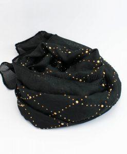 Deluxe Pearl & Gems Wedding Hijab - Black 2 - Hidden Pearls