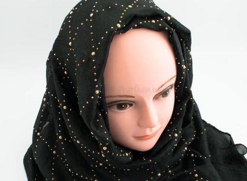 Deluxe Pearl ;Gems Wedding Hijab - Black - Hidden Pearls