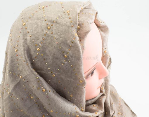 Deluxe Pearl & Gems Wedding Hijab - Champagne - Hidden Pearls