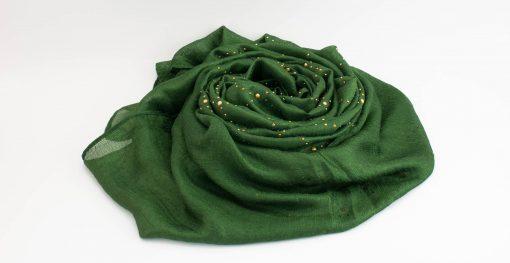 Deluxe Pearl & Gems Wedding Hijab - Emerald 2 - Hidden Pearls