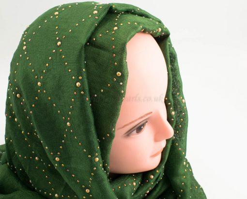 Deluxe Pearl & Gems Wedding Hijab - Emerald - Hidden Pearls