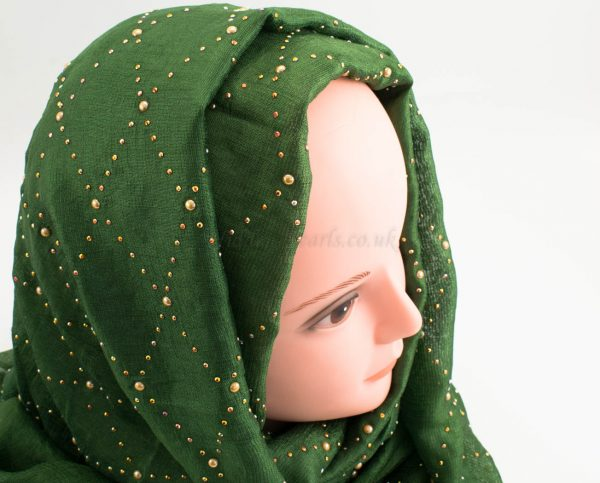 Deluxe Pearl & Gems Wedding Hijab - Emerald - Hidden Pearls
