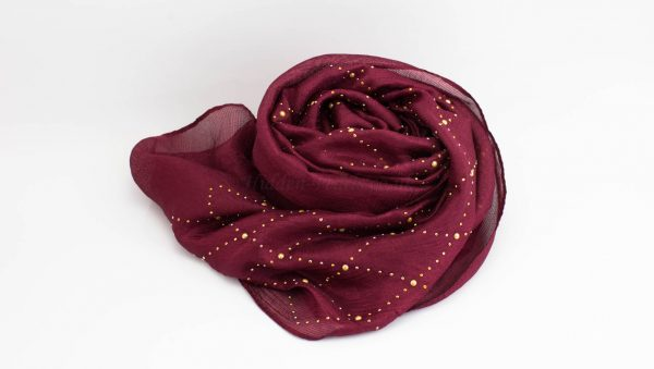 Deluxe Pearl & Gems Wedding Hijab - Garnet 2 - Hidden Pearls