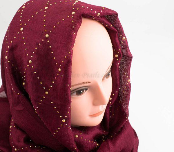 Deluxe Pearl & Gems Wedding Hijab - Garnet - Hidden Pearls