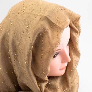 Deluxe Pearl & Gems Wedding Hijab - Gold - Hidden Pearls