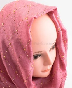 Deluxe Pearl & Gems Wedding Hijab - Rose - Hidden Pearls