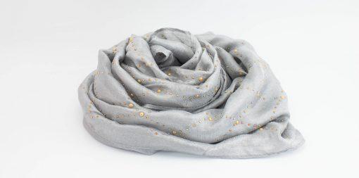 Deluxe Pearl & Gems Wedding Hijab - Silver 2 - Hidden Pearls