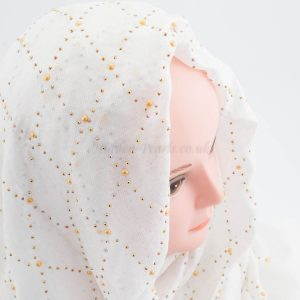 Deluxe Pearl & Gems Wedding Hijab - White - Hidden Pearls