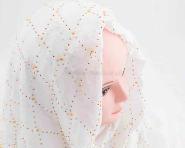 Deluxe Pearl & Gems Wedding Hijab - White - Hidden Pearls